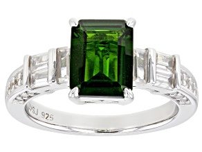 Green chrome diopside rhodium over silver ring 2.88ctw
