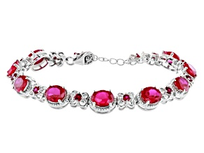 Red Lab Created Ruby Rhodium Over Sterling Silver Bracelet 17.03ctw