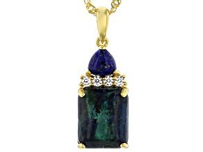 Blue Azurmalachite 18k Gold Over Silver Pendant With Chain .10ctw