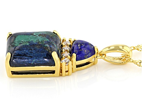 Blue Azurmalachite 18k Gold Over Silver Pendant With Chain .10ctw