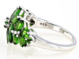 Green chrome diopside rhodium over silver ring 2.84ctw