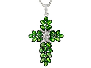Green chrome diopside rhodium over silver pendant with chain 5.20ctw