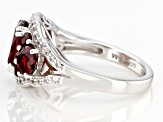 Red garnet rhodium over silver ring 3.54ctw