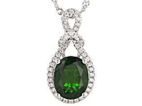 Green Chrome Diopside Rhodium Over Silver Pendant With Chain 2.21ctw
