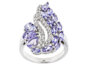 Blue Tanzanite Rhodium Over Silver Ring 2.80ctw
