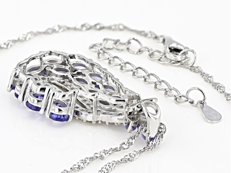 Blue Tanzanite Rhodium Over Silver Pendant With Chain 3.15ctw