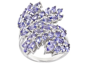 Blue Tanzanite Rhodium Over Silver Ring 3.39ctw