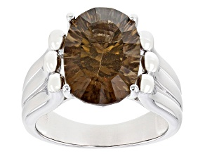 Brown Smoky Quartz Rhodium Over Silver Ring 5.10ct