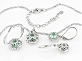 Green Lab Created Spinel Rhodium Over Silver Jewelry Set 5.79ctw