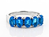 Neon apatite rhodium over sterling silver ring 2.15ctw