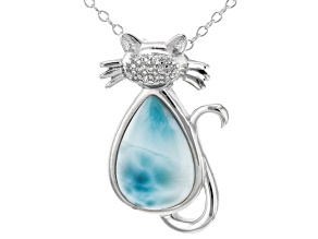 Blue larimar rhodium over sterling silver cat pendant with chain .16ctw