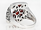 Red sponge coral rhodium over sterling silver solitaire ring