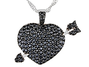 Black spinel rhodium over silver heart pendant with chain 2.00ctw