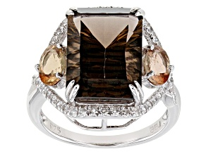 Brown Smoky Quartz Rhodium Over Silver Ring 6.91ctw