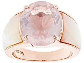 Pink rose quartz 18k rose gold over silver ring