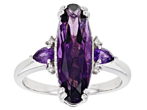Purple Amethyst Rhodium Over Sterling Silver Ring 3.43ctw