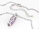 Purple Amethyst Rhodium Over Silver Pendant With Chain 3.47ctw