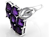 Purple Amethyst Rhodium Over Silver Ring 3.57ctw
