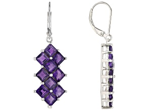 Purple Amethyst Rhodium Over Silver Earrings 5.44ctw