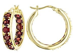 Red garnet 18K yellow gold over sterling silver inside-outside hoop earrings 7.72ctw