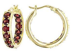 Red garnet 18K yellow gold over sterling silver inside-outside hoop earrings 7.72ctw