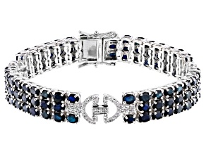 Blue Sapphire Rhodium Over Silver Bracelet 18.27ctw