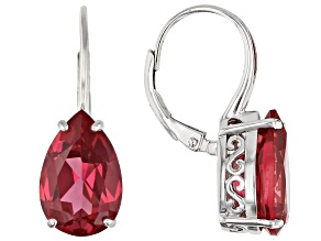 Pink Lab Created Padparadscha Sapphire Rhodium Over Silver Earrings 9.78ctw