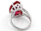 Pink Lab Created Padparascha Sapphire Rhodium over Silver Ring 11.39ct