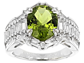 Green Peridot Rhodium Over Silver Ring 4.87ctw