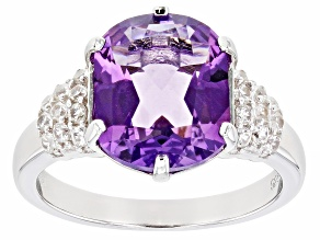 Purple amethyst rhodium over silver ring 3.87ctw