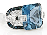 London Blue Topaz Rhodium Over Sterling Silver Ring 6.84ctw