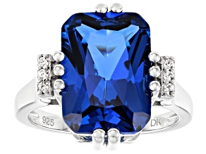 Blue Lab Created Spinel Rhodium Over Silver Ring 6.69ctw