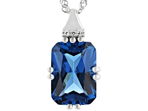 Blue Lab Created Spinel Rhodium Over Silver Pendant With Chain 6.63ctw