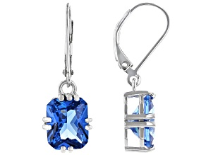 Blue Lab Created Spinel Rhodium Over Silver Earrings 6.73ctw