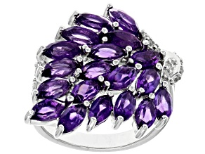 Purple Amethyst Rhodium Over Silver Ring 3.63ctw