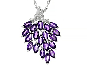 Purple Amethyst Rhodium Over Silver Pendant With Chain 3.53ctw