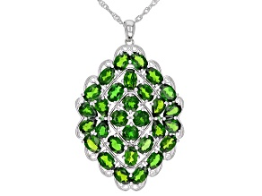 Green Chrome Diopside Rhodium Over Silver Pendant With Chain 12.66ctw