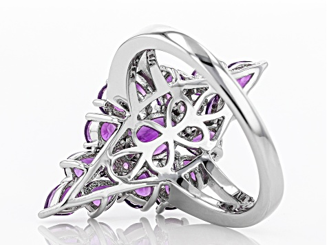 Purple Amethyst Rhodium Over Silver Ring 2.35ctw