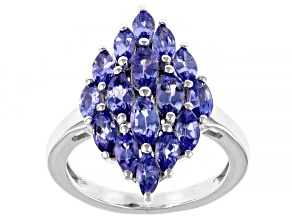 Blue Tanzanite Rhodium Over Silver Ring 2.38ctw