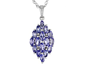 Blue Tanzanite Rhodium Over Silver Pendant With Chain 2.38ctw