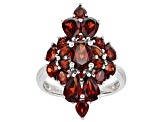 Red Garnet Rhodium Over Silver Ring 5.05ctw