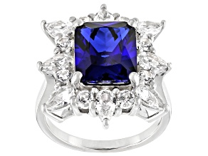 Blue Lab Created Sapphire Rhodium Over Silver Ring 7.06ctw