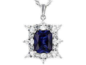 Blue Lab Created Sapphire Rhodium Over Silver Pendant With Chain 7.06ctw