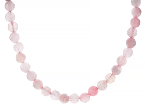 Pink rose quartz 18k Rose Gold Over Sterling Silver Bead Necklace