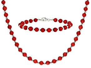 Red Coral Rhodium Over Silver Necklace and Bracelet Set