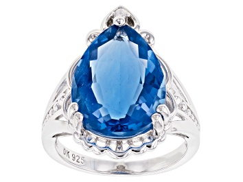 Picture of Blue Color Change Fluorite Rhodium Over Silver Ring 9.29ctw