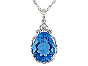 Blue Fluorite Rhodium Over Silver Pendant With Chain 9.29ctw