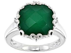 Green Onyx Rhodium Over Silver Ring .04ctw