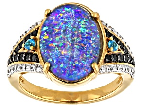 Multi-Color Australian Opal Triplet 18k Yellow Gold Over Silver Ring .30ctw