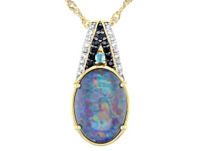 Multi-Color Australian Opal Triplet 18k yellow Over Silver pendant with chain .16ctw